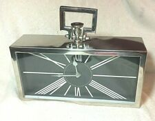 Modern Inspired funky steel chrome metal table / mantel clock home decor #27887