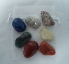 CHAKRA KIT: 7 Large Tumbled Stones (Set #2) with Instructions and Pouch