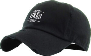 Good Vibes Only Embroidery Dad Hat Baseball Cap Unconstructed Cotton