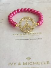 Glass Pearl Hot Pink w/ Gold Tone Peace Connector Link
