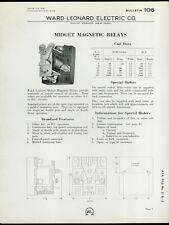 Very Rare Original 1933 Ward Leonard Dealer Sheet Page: Midget Magnetic Relays