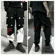 Mens Trousers Casual Boy Black White Multi-Pocket With Harem Cargo Jogger Pants