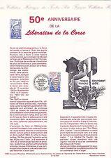 Document Philatélique Timbre 1er Jour : 08/10/ 1993 - Libération de la Corse