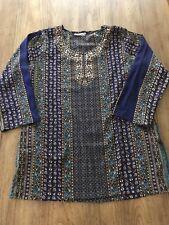 Amanda Blue Decorative Embellished Top Made In India Size Medium