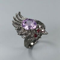 Natural Amethyst 925 Sterling Silver Ring Size 7.75/RR17-2174