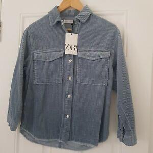 Zara Girls Blue Frayed Corduroy Overshirt Shirt Shacket Age 11-12 Years New