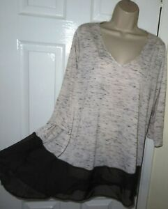 Womens🦋EVANS🦋black mix stretch woven longline top tunic size 20
