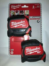 Milwaukee Tape Measure 48-22-0125G 25 ft. Magnetic (2-Pack) NEW! FREE SHIP!