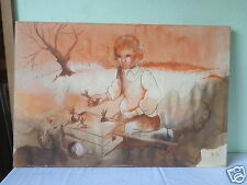 VINTAGE SIGNED MYSTERY ARTIST MILLS GIRL GARDENING UNFRAMED PAINTING ON CANVAS