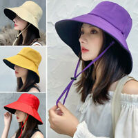Women Outdoor Sun Hats Sunscreen Summer Anti-UV Wide Brim Solid Fisherman's hat