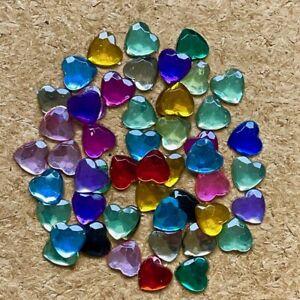 50pcs 10mm Heart Resin Love flatback Scrapbook phone wedding sparkle craft #2162