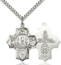 Sterling Silver First Communion 5-Way Medal with I Am Catholic Back, 1 1/4 Inch