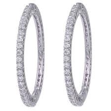 18k White Gold over Swarovski Elements CZ Round Hoop Earrings
