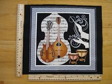 "Musical Guitars Kettle Drums  Cotton Quilt Fabric Block 10 3/4"" x 11"""