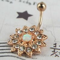 Crystal Flower Opal Center Belly Button Ring Navel Barbell Jewelry Body Piercing