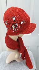 Ladies Red knitted set hat and scarf warm for Autumn and winter one size