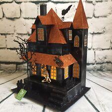 "RAZ 13.5"" Orange and Black Spooky Haunted House Lighted Halloween Tabletop Decor"