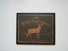 Lodge Plaque White Tail Deer country style rustic primitive wall sign hunting