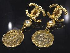 Auth CHANEL Coco Mark CC Logo Motif Earrings Gold-Tone Clip-On U639