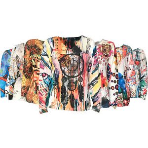 Womens Tops Long Sleeve Summer T Shirt Ladies Baggy floral Jumper Size Blouse S