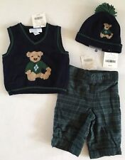 NWT Janie & Jack Teddy Bear Holiday 0-3 Months Plaid Pants Sweater Vest & Hat