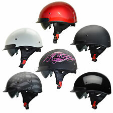 Vega Warrior Motorcycle Half Helmet Adjustable w/ Sun Visor and Quick Release