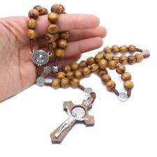 Fashion Handmade Round Bead Catholic Rosary Cross Religious Wood Beads