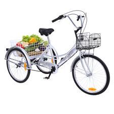 "24"" Dreirad Fahrrad Einkaufe Dreirad Silber  6 Gang Erwachsene Shopping Dreirad"