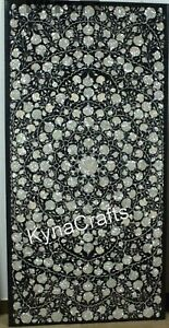 """Mother of Pearl Stone Inlay Work Dining Table Top Black Marble Sofa Table 36x72"""""""