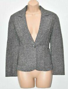 Women's Vintage OASIS Fitted Grey Wool Blend Blazer Jacket Size 36 UK10