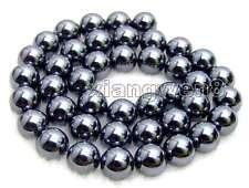 "SALE 10mm Round Super Luster High Quality Black Hematite beads strand 15""-los459"