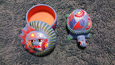 Hand Painted Trinket Boxes Combination from Mexico, Beautiful, Bright, 2 Items!