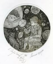 THE SOAP BUBBLE Original etching by Leonid STROGANOV, Russian Ex Libris Artist g