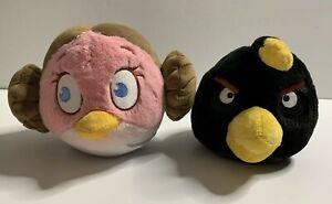 "Angry Birds 10"" Star Wars Princess Leia & 8"" Black Bomb Stuffed Plush Animal Toy"