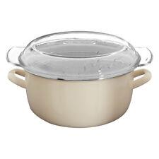 Cream Enamel Glass Pyrex Lid Steel Deep Fryer Chips Frying Fry Pan Pot Basket