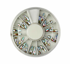 3D IRRIDESCENT AB TEARDROP NAIL ART RHINESTONE WHEEL (245) crystal craft gems