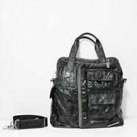 MATT & NAT Black Messenger Crossbody Multi-Zip Handbag Faux Patent Leather
