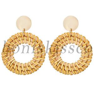 Women's Bohemian Earrings Boho Braided Rattan Round Circle Dangle Earrings Studs