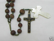 "† LATE c1700s ANTIQUE HTF ""4 NAIL HAND FILED EBONY CRUCIFIX"" BRASS WOOD ROSARY †"
