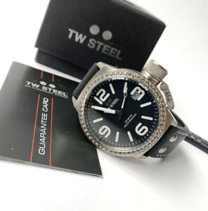 TW Steel Watch * TW37 Canteen Crystals Black Leather 45MM COD PayPal