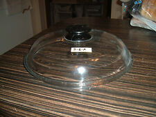 Clear glass PYREX domed lid with black knob, lot 3-6-A, fits 9-3/8 opening