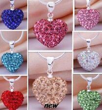 10pcs/lot mixed heart Silver Plated snake chain women Crystal Shamballa Necklace