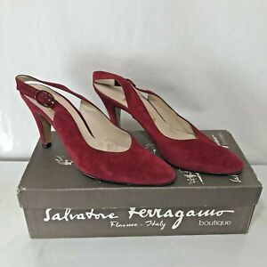 Salvatore Feragammo Red Suede Slingback Shoes Pumps Heels Size 8.5AA