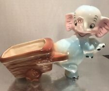 VTG 1950 Norseen CA Ceramic Smile Elephant Trunk Up Planter Vase  Cart Blue Pink