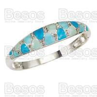 AVON ENAMEL ELEGANCE stretch CUFF BRACELET bangle SILVER/BLUE crystal GIFT BOX