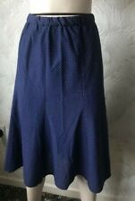 SIZE 14 VINTAGE 1970S SKIRT NAVY BLUE WHITE DOTS ELASTICATED WAIST GORED PANELS