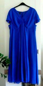 Emilia Lay Damen Kleid mit Unterkleid Gr 46 Seide  Blau Top Zustand