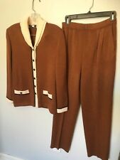 St John Brown/Ivory Pant Suit with Button Cardigan - Size 2