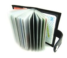 Alta Calidad Negro Cuero Verdadero Titular de la tarjeta de débito/crédito cartera Bloqueo de RFID