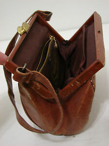 PARAMOUNT PICTURES WARDROBE Vintage Purse Tan Distressed Leather Steel Box
